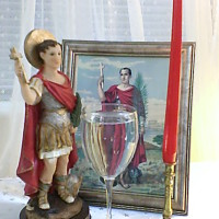 "Saint Expedite Red Candle Spell Altar for ""Fast Luck"" & ""Things in a Hurry"""